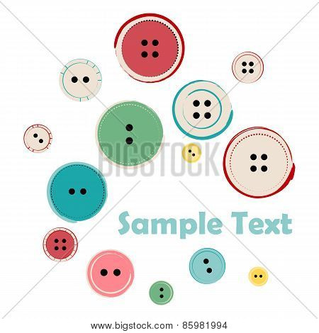 Group Of Sewing Buttons With Sample Text