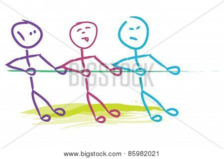 Three Men Pulling Tau