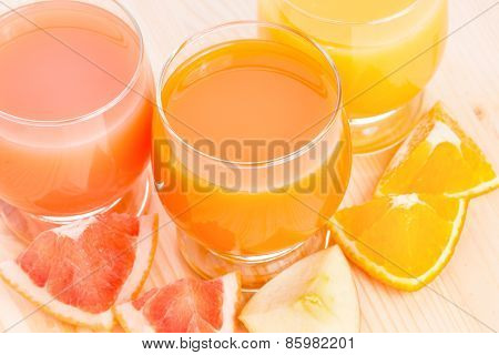 Fresh Juice With Different Pieces Of Fruits.