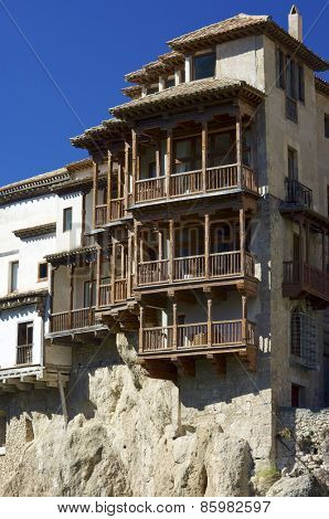 view of the hanging houses of Cuenca, Castilla La Mancha, Spain