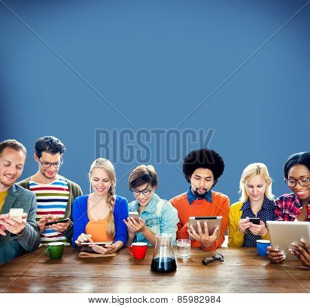 Mutiethnic Group of People Smiling Technology Tablet Concept