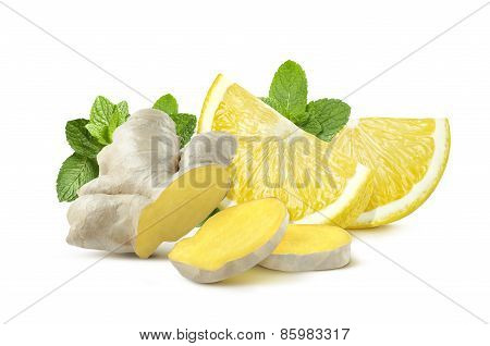 Ginger Lemon Mint Isolated On White Background