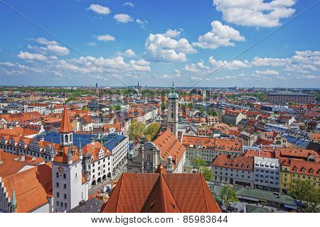 Munich City Center Panoramic View With Spires