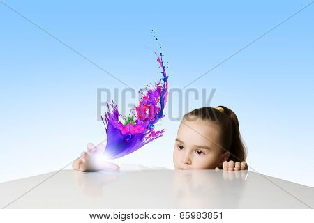 Little cute girl and flying above icons
