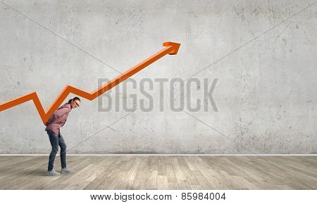 Young girl student carrying increasing graph on back