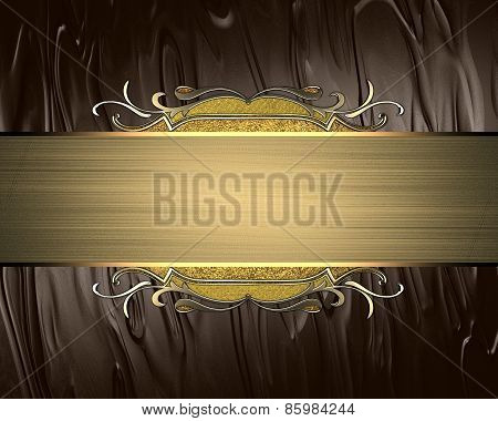 Template For Design. Beautiful Brown Background With A Gold Plate With Ornament