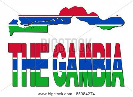 The Gambia map flag and text illustration