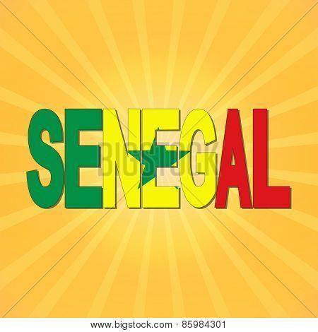 Senegal flag text with sunburst illustration