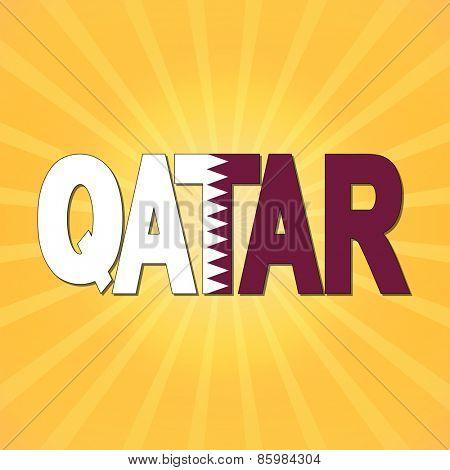 Qatar flag text with sunburst illustration
