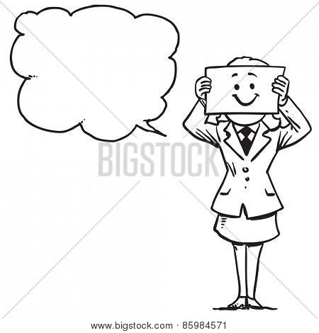 Businesswoman with happy face on paper speaking