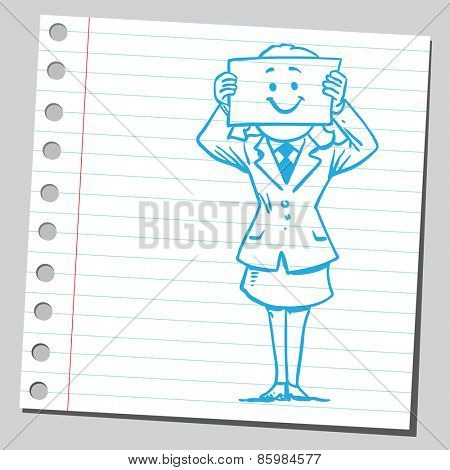 Businesswoman  with happy face on paper