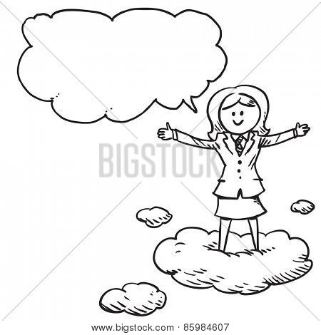 Businesswoman standing on clouds speaking