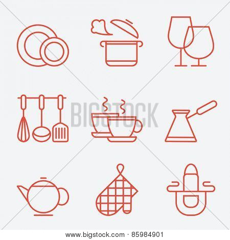 Kitchen utensils icons, thin line style, flat design