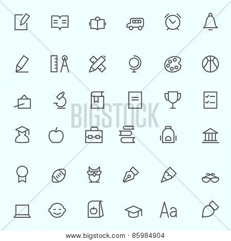 Education icons, simple and thin line design