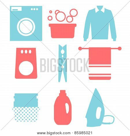 Laundry and Washing Icons. Vector illustration.  Flat design.
