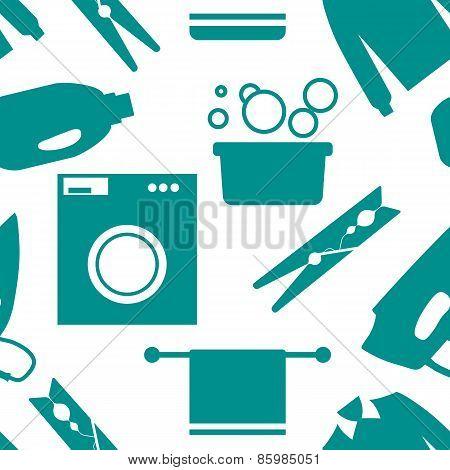 Seamless pattern of Laundry and Washing Icons. Vector illustration.  Flat design.