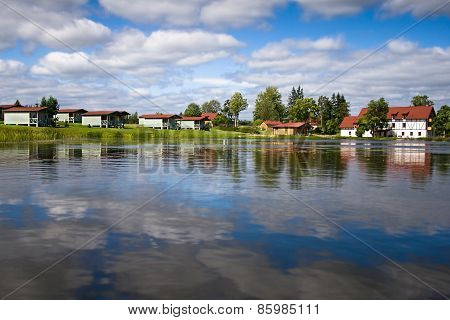 Beautiful forest lake with water lilies on surface