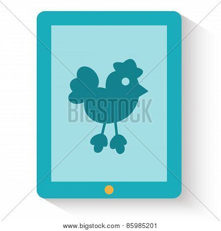 Flat design of social media web icon. Twitter bird on tablet screen. Vector illustration