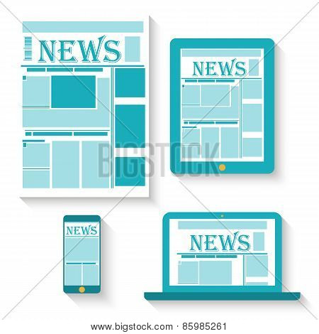 Flat design vector illustration of newspaper on different gadgets.