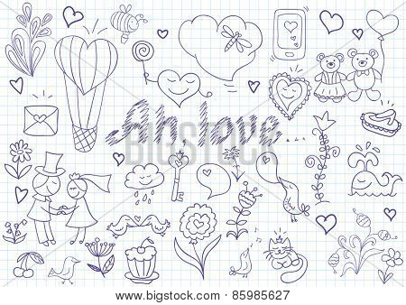 Vector collection of romantic symbols. Sketch on notebook page