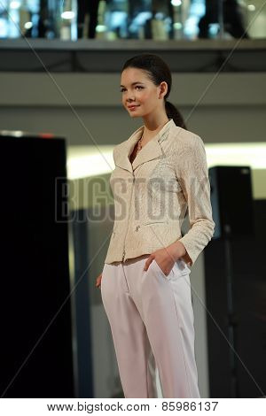 Brno,czech Republic-march 20,2015: Model Walking On Fashion Show During Vankovka Fashion Days 2015