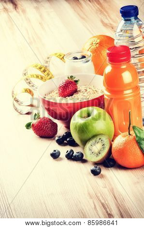 Healthy Lifestyle And Fitness Concept. Fresh Fruits, Juice And Cereal
