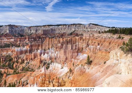 Rows Of Sandstone Pinnacles Of Amazing Bryce Canyon National Park Seen From Sunrise Point In Utah, U
