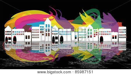 village silhouette on abstract background
