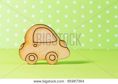 Wooden Car Icon On Green Background