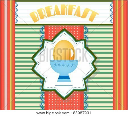 Colorful, striped card with yellow egg, text Breakfast, retro design