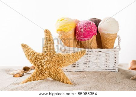 Ice cream scoops on sandy beach, close-up.