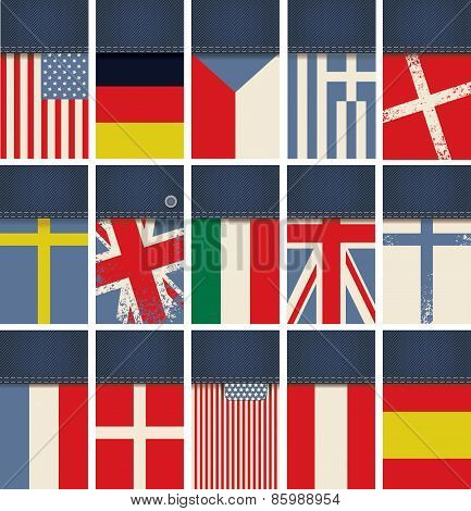 Jeans fabric with flags