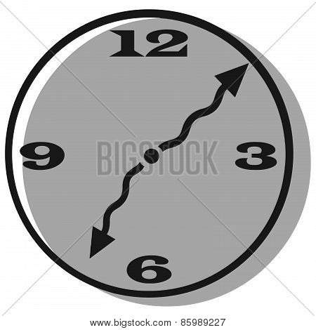 Vector Clip Art Of A Clock With Curly Hands And A Shadow