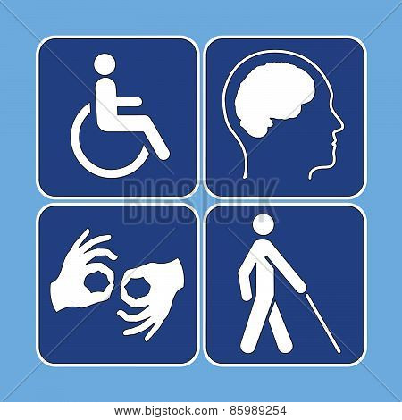 Vector Set Of Disability Symbols In Blue And White