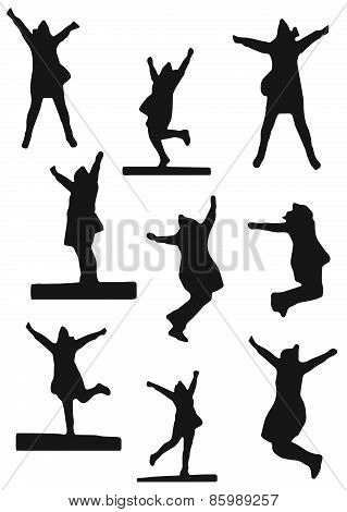 Vector Set Of Silhouettes Of A Jumping Woman