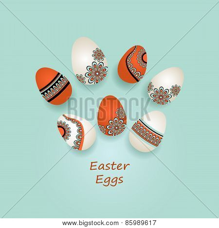 Easter Eggs in ethnic style on blue
