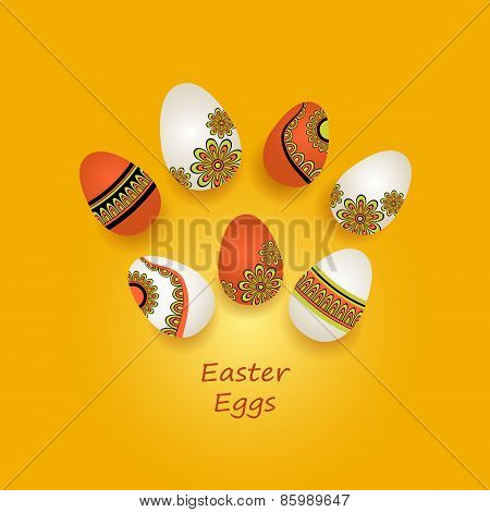 Easter Eggs in ethnic style on orange