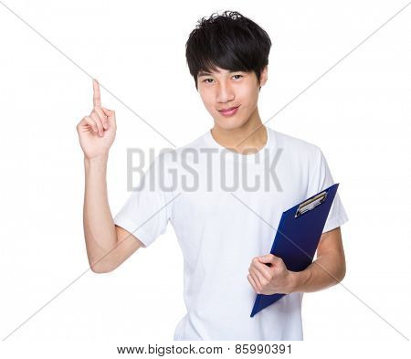 Casual man hold with clipboarf and finger point up