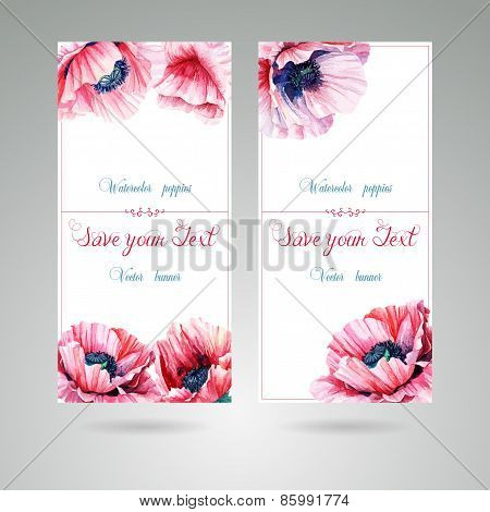 Flyer With Pink Poppies. Watercolor Illustration.