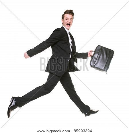 running businessman isolated on white