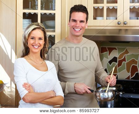 Young loving couple at new home. Relationship.