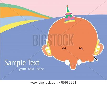 cute card with cute elephant. vector illustration