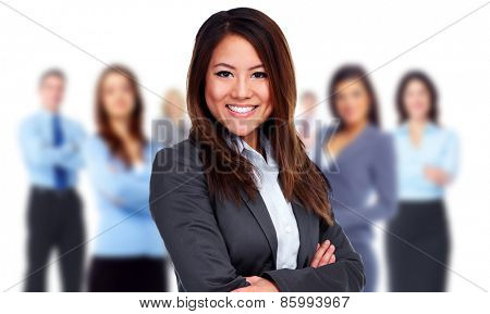 Woman and group of business people. Teamwork background.