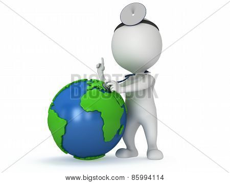 Doctor With Earth Globe. World Health Day Concept.