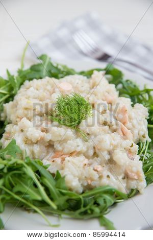 Home made Italian Risotto with arugula
