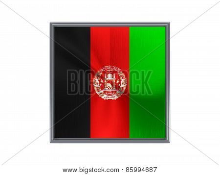 Square Metal Button With Flag Of Afghanistan
