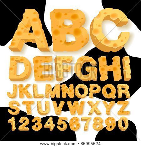 Alphabet and numbers made of cheese