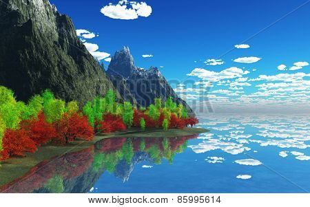 3D render of colourful trees with mountains reflected in water