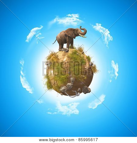 3D render of a conceptual image with an elephant on a globe with rocks and grass