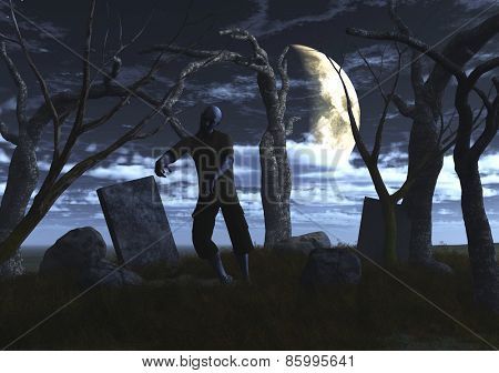 3D render of a zombie in a graveyard at night